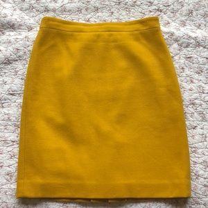 J. Crew Pencil skirt double-serge Wool in Mustard